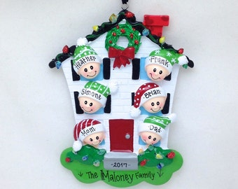 6 Family Member Personalized Christmas Ornament / Personalized Ornament / Family Ornament / 6 Family Members  Happy Home