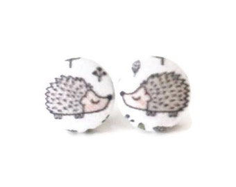 Hedgehog Earrings, Button Post Earrings, Small Fabric Studs, Cover Button Jewelry, Nickel-free Earrings, Titanium Jewelry, Hedgies,