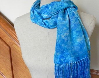 Turquoise crepe silk scarf with fringe, hand dyed long silk scarf, ready to ship #428