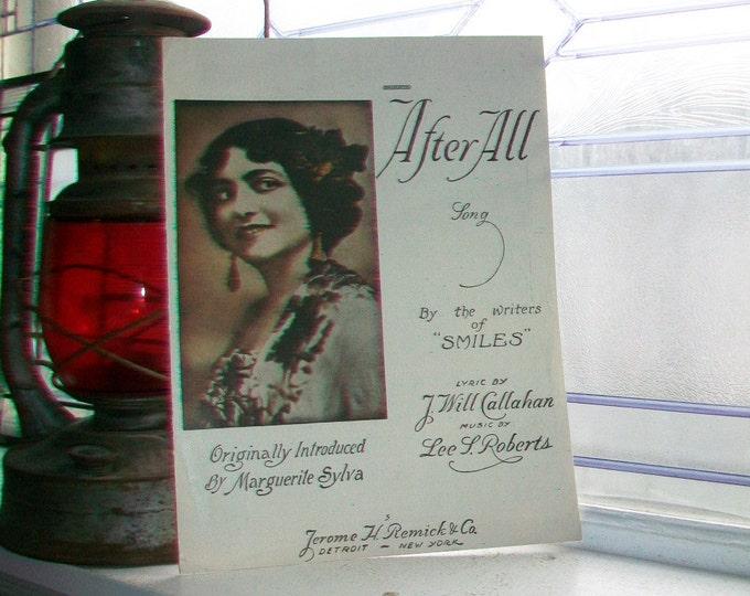 Vintage Sheet Music 1919 After All Marguerite Sylva