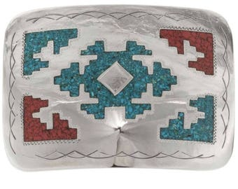 Turquoise Coral Belt Buckle Inlaid Navajo Rug Pattern