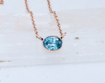 Handmade Zircon Rose Gold Layering Necklace with 2.5ct Natural Zircon