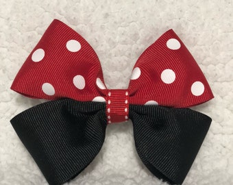 Red polkadot with black hair clip bow
