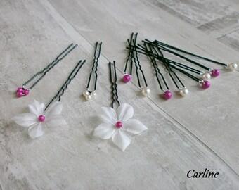 Hair jewelry hair Fuchsia ivory bridal hair pins wedding pins