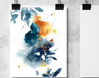 Abstract botanical fine art print , Watercolor painting print, blue and yellow modern abstract botanical wall art print