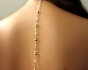 Pearl Back Drop Bridal Necklace - Back Drop Lariat Style with Pearls and Crystals - PRISCILLA