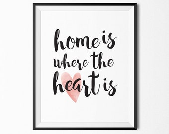 Home is where the heart is, Quote prints, Printable quotes, wall art quote, Printable wall art,  Inspirational quote,
