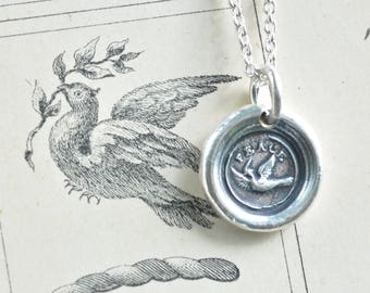 dove wax seal necklace pendant ... peace - fine silver victorian trinket wax seal jewelry