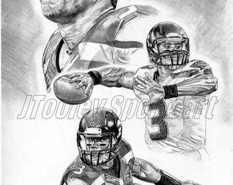 Russell Wilson of Seattle Seahawks Art Poster