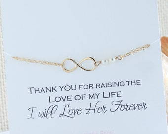 Pearl Infinity Bracelet Silver-Gold-Rose Gold | Mother of the Groom Gift from Bride