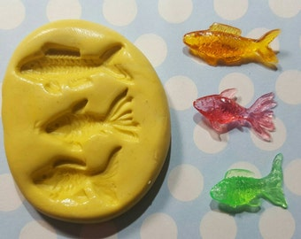 3 Mini Fish- Flexible Silicone Mold for polymer clay, resin, wax, etc.