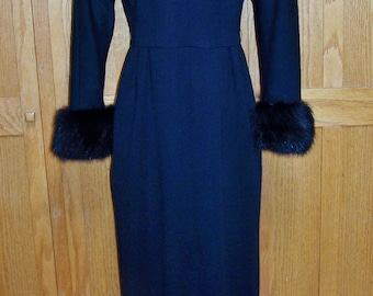 Vintage evening Gown, 60s evening gown, Black FUR Gown, Full length gown, Sexy silhouette,  size S / M