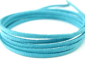 3mm Suede Leather Cord, 5mt 10mt 20mt 50mt Faux Suede Cord, Blue Suede Leather Cord, 3mm Flat Faux Leather, Suede Leather Cord