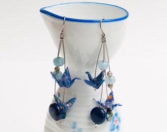 Origami earrings in blue paper with lapis lazuli and aquamarine beads