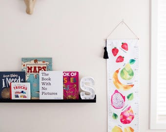 Quality Handmade Fabric Growth Chart Canvas Watercolor Fruits Height Chart First Birthday New Baby Personalised Personalised Removable Aus