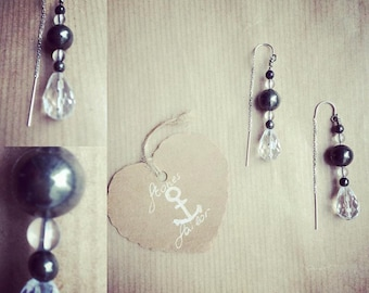 925 Silver earrings with gemstone Pyrite and rock crystal