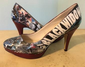Black Widow Custom Comic Heels Size 9