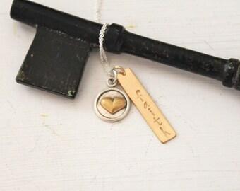 Gold Bar Name Necklace, Gold or Silver Bar Necklace, Gold and Silver Heart Necklace, Personalized Necklace