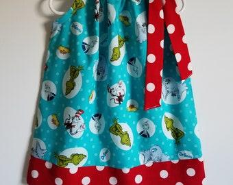 Girls Dress Dr Seuss Dress Pillowcase Dress Cat in the Hat Dress Dr Seuss Party Grinch Dress toddler dress School Dress Book Week