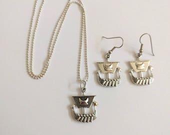 Viking ship necklace charm pendant silver tone nautical earrings silver tone sailboat boat ball chain