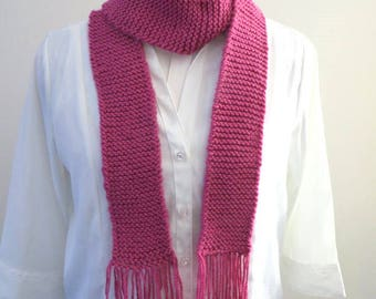 Pink Knit Scarf, 3 inches x 62 inches, Skinny Scarf, Clearance