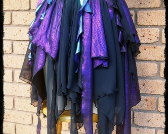 Metallic Purple and Black Gypsy Skirt, Size L-XL - Ready to Ship - Gothic Faery Festival Tatter Cosplay