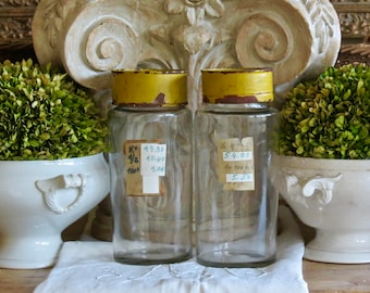 Lovely Old French Hand Blown Glass Wide Mouth Apothecary Bottles