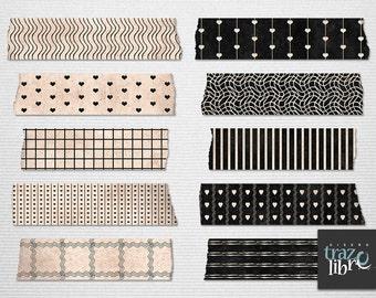 DIGITAL WASHI TAPE: digital paper - digital clip art - scrapbook paper - scrapbook tape - washi digital - frame clipart - digital clip art