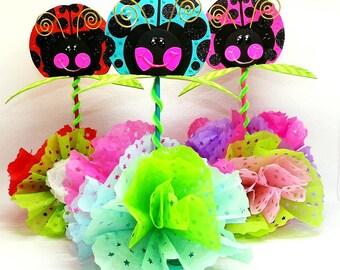 Ladybug Birthday Centerpieces, girls ladybug birthday, Ladybug party, Ladybug centerpiece, ladybug birthday decorations, SET of 3