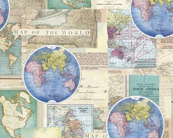 World map fabric etsy vintage cartography cotton fabric by the yarddavid textilesfree shipping availablemap gumiabroncs Choice Image