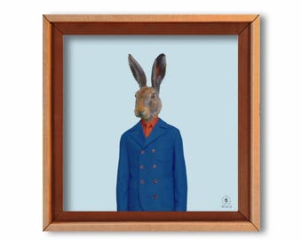 "Art print ""Monsieur Lapin"" cardboard art print-eco-friendly art print"