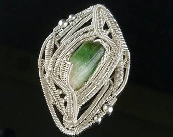 Green Tourmaline wire wrapped pendant