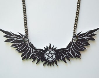 Supernatural Inspired Necklace, Winged Anti-Possession Symbol