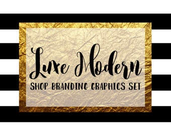 Modern Stripe Shop Branding Banners, Avatar Icons, Business Card, Logo Label + More - 12 Premade Graphics Files - LUXE MODERN