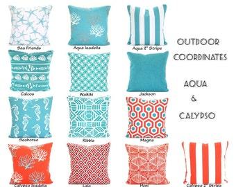 OUTDOOR Pillow Covers, Aqua Coral, Decorative Throw Pillows Nautical Pillows Beach Decor Patio Sun Room One or More Mix & Match All Sizes