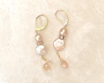 Freshwater and Moonstone Earring - E283