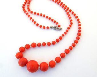 Vintage Coral Red Celluloid Necklace 10K Filigree Clasp, Faux Coral Celluloid Necklace Graduated Beads Single Strand, Early Plastic Necklace