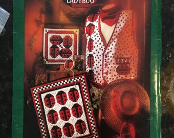 LADYBUG LADYBUG Quilt Pattern, APPLIQUE Vest, Wallhanging - Vintage 1993