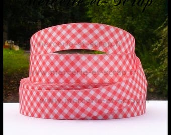 Orange white gingham baby birth 25mm grosgrain Ribbon sold by the meter