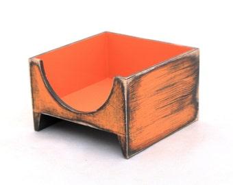 Orange Napkin holder, Wood napkin holder, Unique home decor in Rustic style, Birthday - Wedding gift, Spring decor