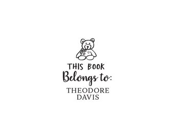 Book Lover Self Inking or Wood Personalized Custom Rubber Stamp - Ex Libris Library Kid Bookplate Teddy Bear