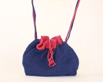 HipBag handmade DoubleStrap Cotton dark blue & red Pompoms-knit with two needles- Valentine's Day Gifts
