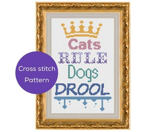 Cats Rule Cross Stitch Pattern