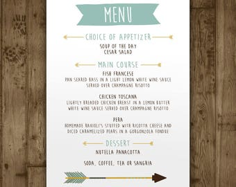 Baby Shower Menu Card - Boys Adventure Arrows