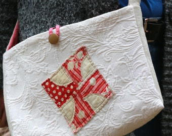 Handmade Purse from Matelasse and Vintage Pink Quilt Crossbody Bag