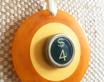 Genuine bakelite vintage two tone poker chip necklace | green dollar sign typewriter key | silver tone chain | lucky necklace