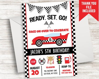 Race Car Invitation Invite Digital Birthday Party 5x7 Red Boys ANY AGE Racecar Cars Transportation