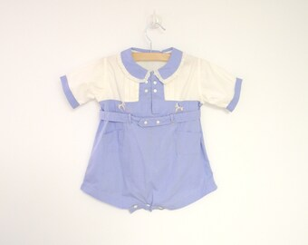 Vintage Baby Clothes, 1930's Sky Blue and White Baby Boy Romper, Vintage Baby Romper, Blue Baby Romper, Cotton Baby Romper, Size 12 Months