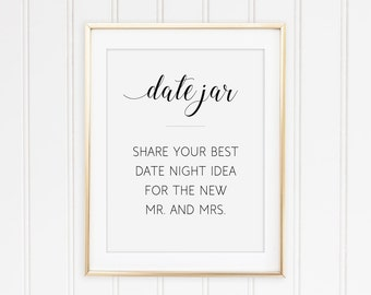 Printable Date Night Jar Sign, Date Jar Sign, Date Ideas, Date Night Ideas, Wedding Sign, Share Best Date Idea, Share Date Ideas, Alejandra