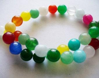 Jade Beads Gemstone Multi Color Beads  Round 8MM